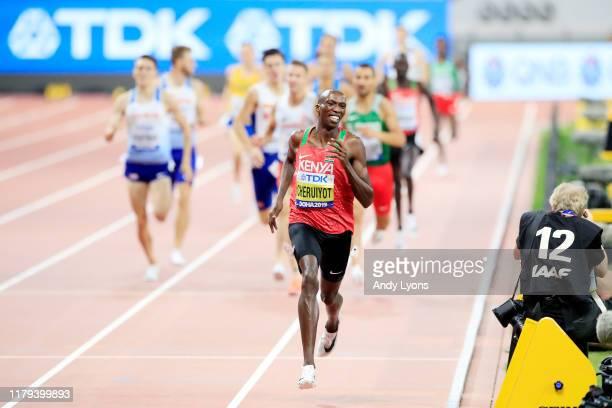 Timothy Cheruiyot of Kenya wins gold in the Men's 1500 metres final during day ten of 17th IAAF World Athletics Championships Doha 2019 at Khalifa...