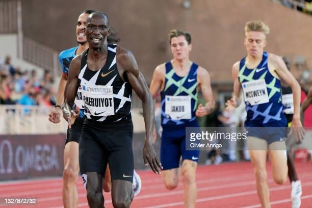Timothy Cheruiyot of Kenya wins the men's 1500m during the IAAF Diamond League Meeting Herculis EBS 2021 in the Stadium Louis II on July 9, 2021 in...