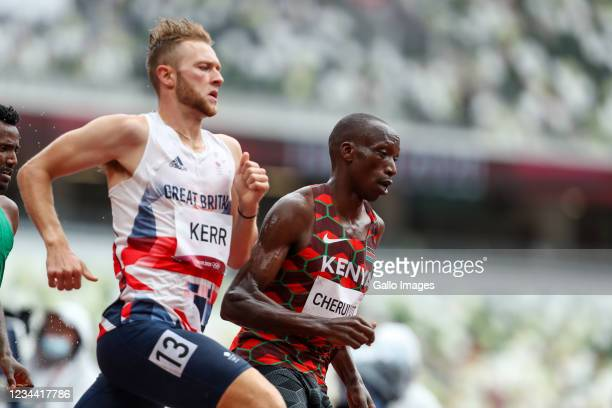 Timothy Cheruiyot of Team Kenya in the heats of the mens 1500m during the Athletics event on Day 11 of the Tokyo 2020 Olympic Games at the Olympic...