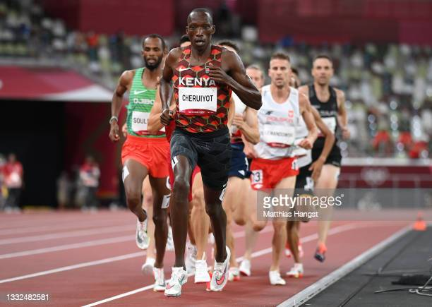 Timothy Cheruiyot of Team Kenya leads the field as he competes in the Men's 1500m Semi Final on day thirteen of the Tokyo 2020 Olympic Games at...