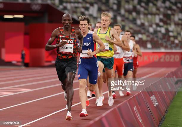 Timothy Cheruiyot of Team Kenya leads the field in the Men's 1500m Final on day fifteen of the Tokyo 2020 Olympic Games at Olympic Stadium on August...