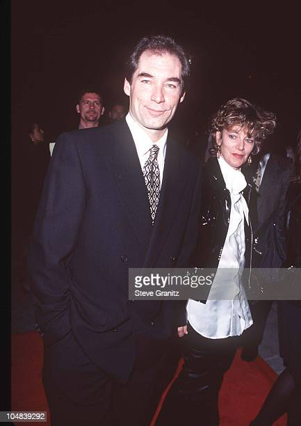 Timothy Dalton and guest during 'The Beautician and the Beast' Premiere at Paramount Theatre in Hollywood California United States