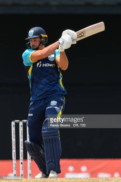 Timothy David of Saint Lucia Kings hits 6 during the 2021 Hero Caribbean Premier League Play-Off match 31 between Saint Lucia Kings and Trinbago...