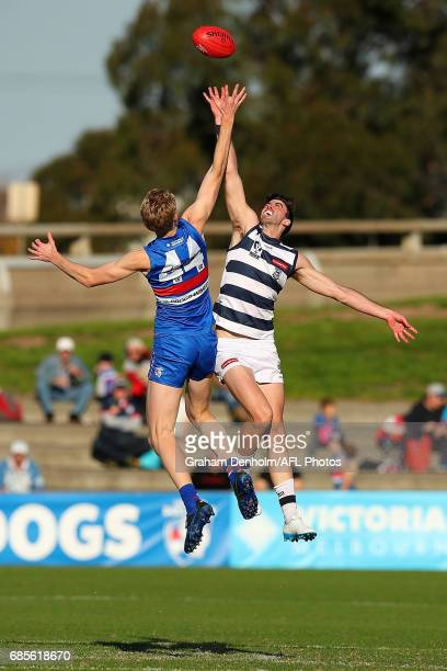 Timothy English of Footscray competes in the air with Ryan Abbott of Geelong during the round six VFL match between the Footscray Bulldogs and the...