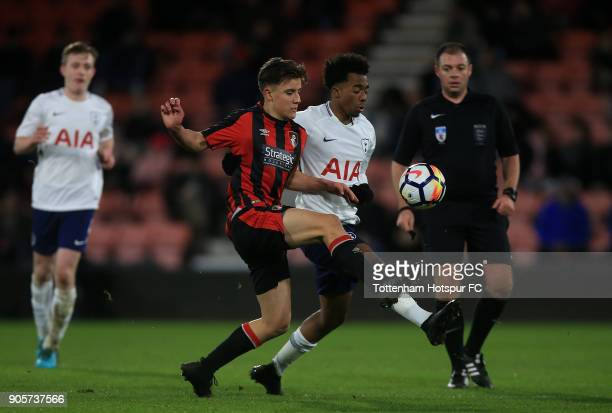 Timothy Eyoma of Tottenham Hotspur holds off pressure from Luke Nippard of Bournemouth during the FA Youth Cup match between Bournemouth U18 and...