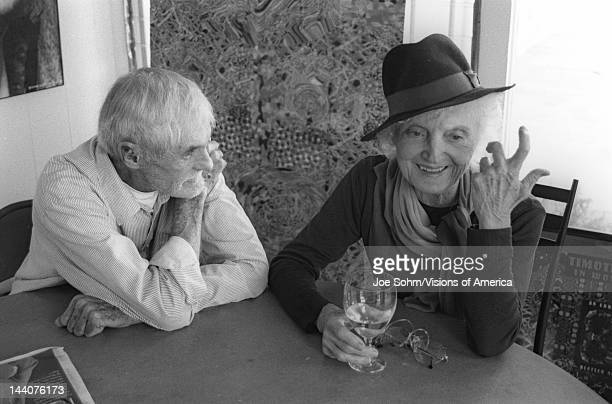 Timothy F Leary an American writer psychologist campaigner for psychedelic drug research and use and 60s counterculture icon with Laura Huxley widow...