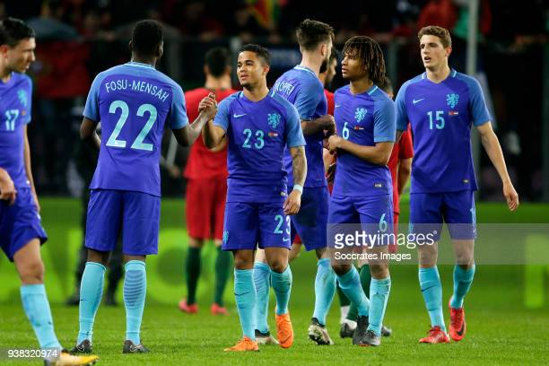 Timothy Fosu Mensah of Holland Justin Kluivert of Holland Davy Propper of Holland Nathan Ake of Holland Guus Til of Holland celebrates the victory...