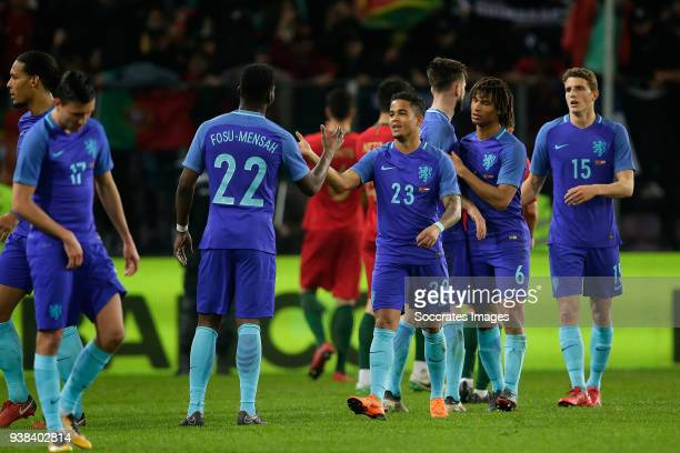 Timothy Fosu Mensah of Holland Justin Kluivert of Holland during the International Friendly match between Portugal v Holland at the Stade de Geneve...
