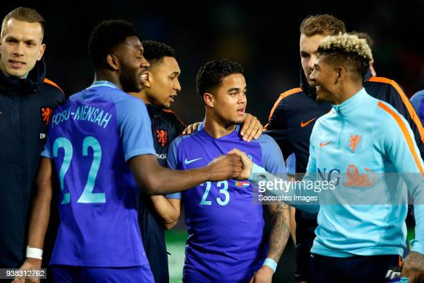 Timothy Fosu Mensah of Holland Kenny Tete of Holland Justin Kluivert of Holland Jeroen Zoet of Holland Patrick of Aanholt of Holland celebrates the...