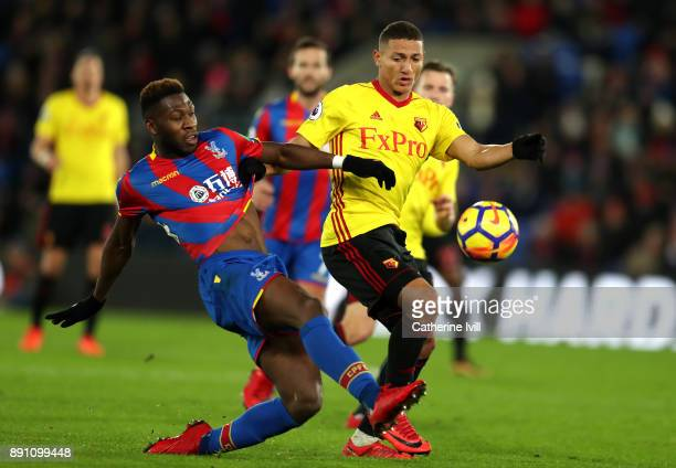 Timothy FosuMensah of Crystal Paalce and Richarlison de Andrade of Watford in action during the Premier League match between Crystal Palace and...