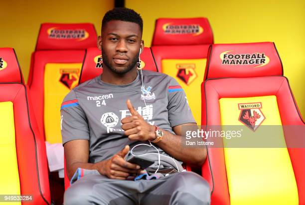 Timothy FosuMensah of Crystal Palace poses prior to the Premier League match between Watford and Crystal Palace at Vicarage Road on April 21 2018 in...