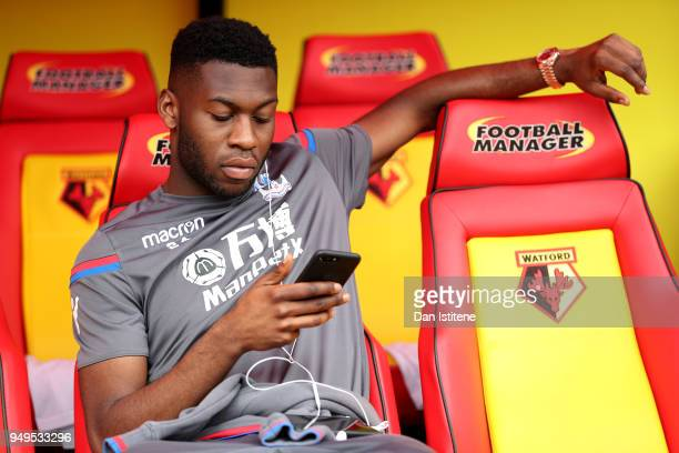 Timothy FosuMensah of Crystal Palace relaxes prior to the Premier League match between Watford and Crystal Palace at Vicarage Road on April 21 2018...