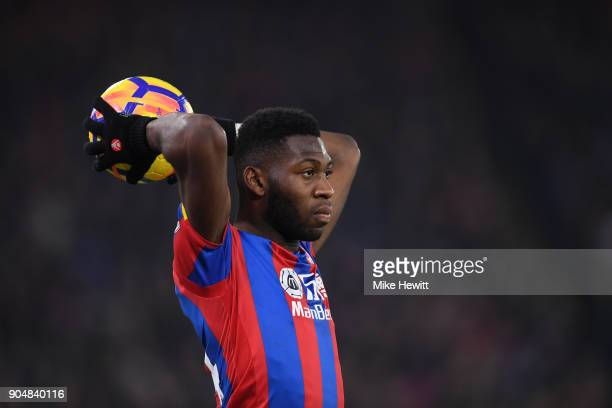 Timothy FosuMensah of Crystal Palace takes a throw in during the Premier League match between Crystal Palace and Burnley at Selhurst Park on January...