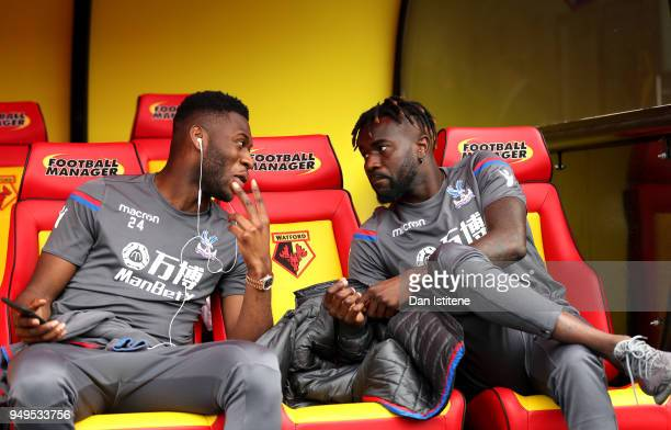 Timothy FosuMensah of Crystal Palace talks to Pape Souare of Crystal Palace prior to the Premier League match between Watford and Crystal Palace at...