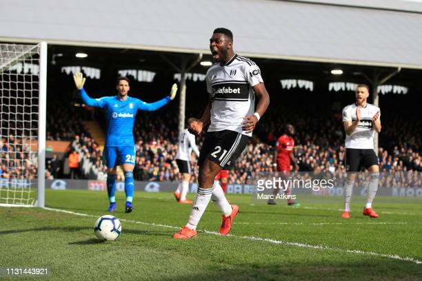 Timothy FosuMensah of Fulham during the Premier League match between Fulham FC and Liverpool FC at Craven Cottage on March 17 2019 in London United...