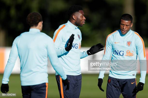 Timothy FosuMensah of Holland Georginio Wijnaldum of Holland during the Training Holland at the KNVB Campus on March 19 2018 in Zeist Netherlands