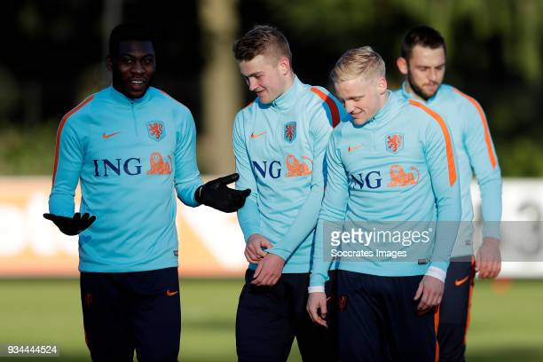 Timothy FosuMensah of Holland Matthijs de Ligt of Holland Donny van de Beek of Holland during the Training Holland at the KNVB Campus on March 19...