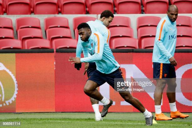 Timothy FosuMensah of Holland Memphis Depay of Holland Ryan Babel of Holland during the Training Holland at the Johan Cruijff Arena on March 22 2018...
