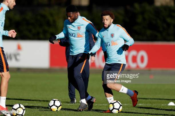 Timothy FosuMensah of Holland Tonny Vilhena of Holland during the Training Holland at the KNVB Campus on March 19 2018 in Zeist Netherlands