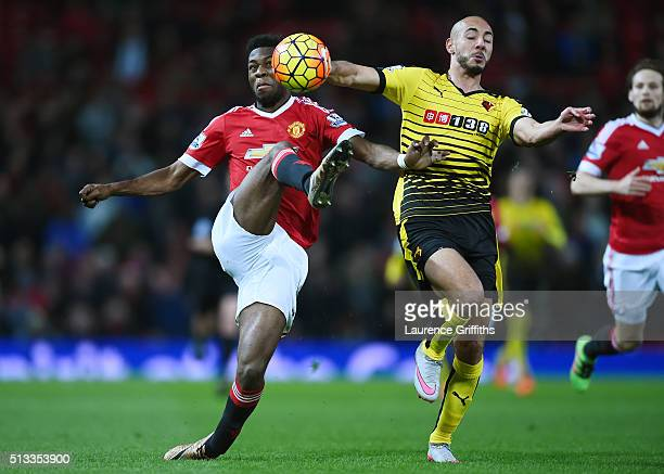 Timothy FosuMensah of Manchester United and Nordin Amrabat of Watford during the Barclays Premier League match between Manchester United and Watford...