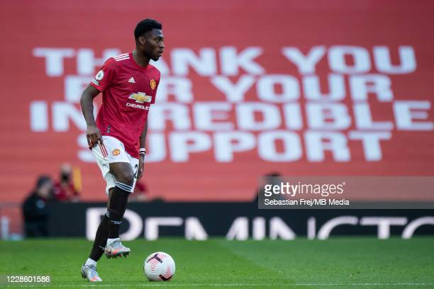 Timothy FosuMensah of Manchester United control ball during the Premier League match between Manchester United and Crystal Palace at Old Trafford on...