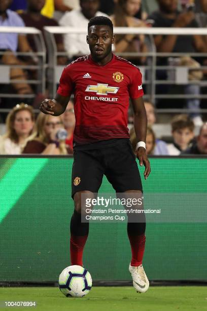 Timothy FosuMensah of Manchester United controls the ball during the International Champions Cup game against Club America at the University of...