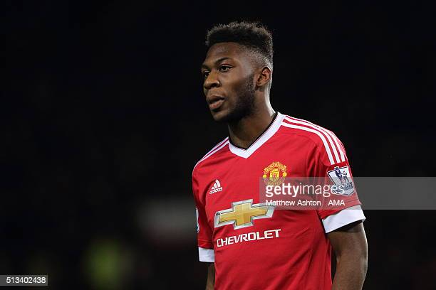 Timothy FosuMensah of Manchester United during the Barclays Premier League match between Manchester United and Watford at Old Trafford on March 02...