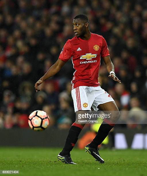 Timothy FosuMensah of Manchester United during The Emirates FA Cup Fourth Round match between Manchester United and Wigan Athletic at Old Trafford on...