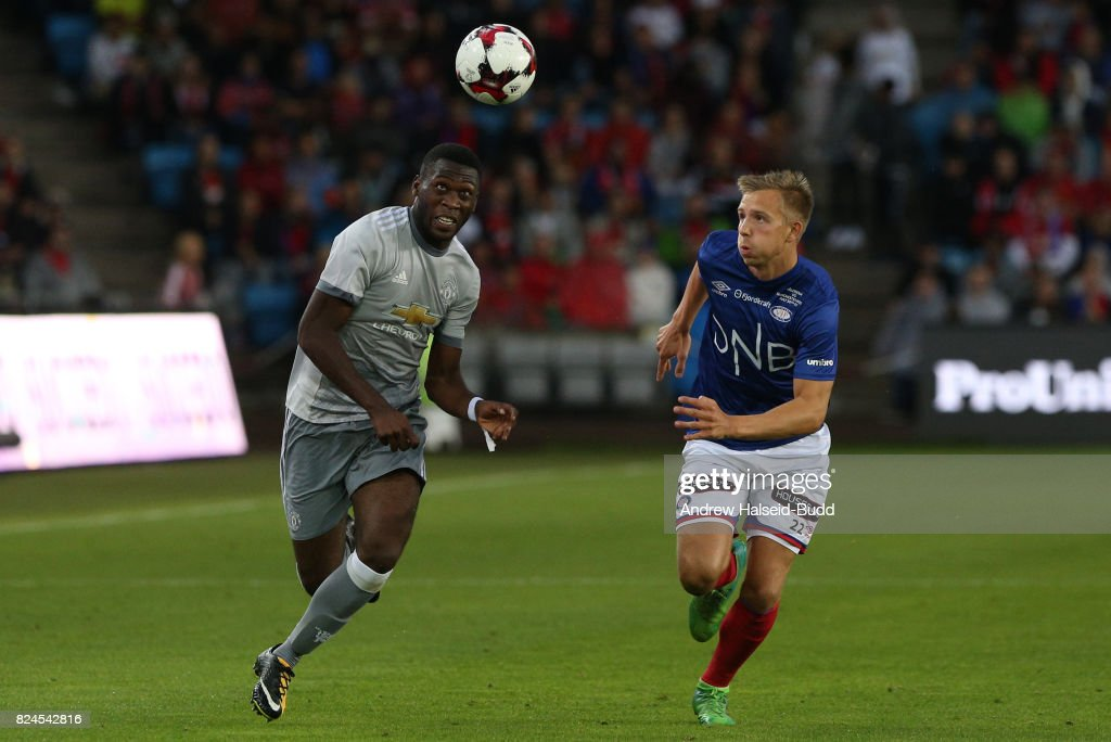 Timothy Fosu-Mensah of Manchester United in action against Ivan Nasberg of Valerenga today at Ullevaal Stadion on July 30, 2017 in Oslo, Norway.