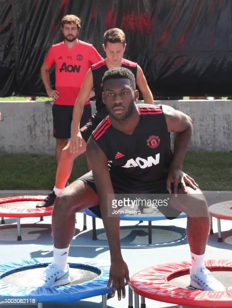 Timothy FosuMensah of Manchester United in action during a first team training session as part of their preseason tour of the USA at UCLA on July 21...