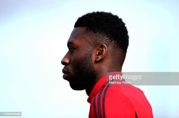 Timothy FosuMensah of Manchester United in action during a first team training session on February 13 2020 in Malaga Spain