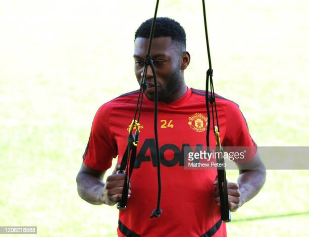 Timothy FosuMensah of Manchester United in action during a first team training session on February 14 2020 in Malaga Spain