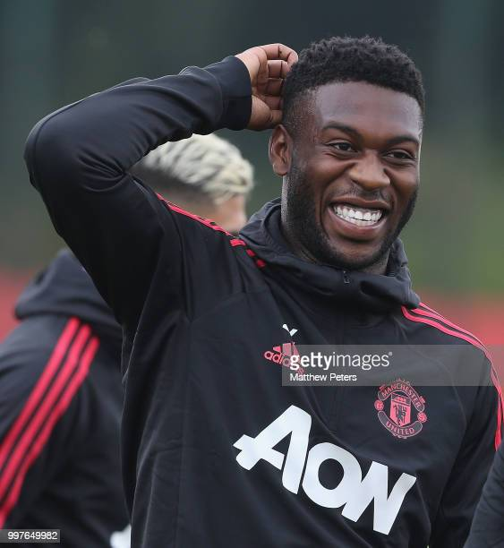 Timothy FosuMensah of Manchester United in action during a first team training session at Aon Training Complex on July 13 2018 in Manchester England