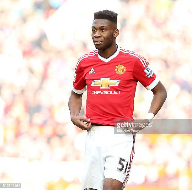 Timothy FosuMensah of Manchester United in action during the Barclays Premier League match between Manchester United and Arsenal at Old Trafford on...