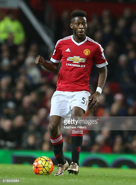 Timothy FosuMensah of Manchester United in action during the Barclays Premier League match between Manchester United and Watford at Old Trafford on...