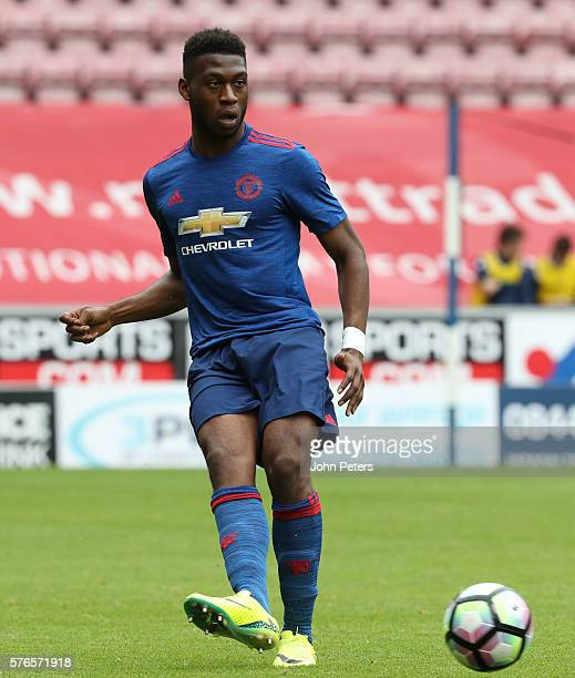 Timothy FosuMensah of Manchester United in action during the preseason friendly match between Wigan Athletic and Manchester United at JJB Stadium on...