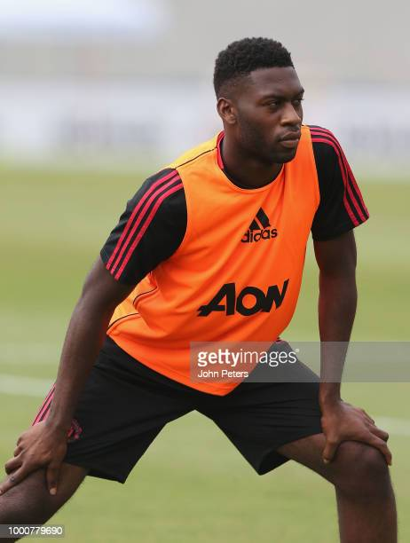 Timothy FosuMensah of Manchester United takes part in a first team training session as part of their preseason tour of the USA at UCLA on July 17...