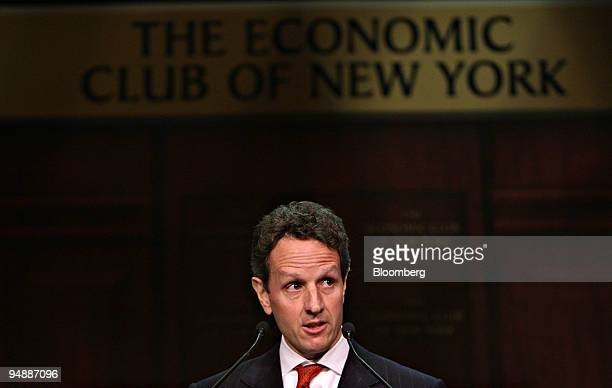 Timothy Geithner president and chief executive officer of the Federal Reserve Bank of New York speaks during an Economic Club of New York luncheon in...