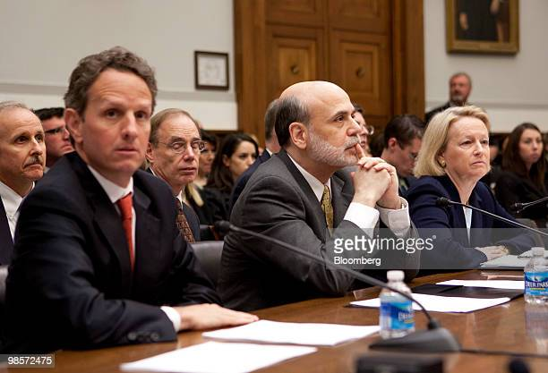 Timothy Geithner US treasury secretary left to right Ben S Bernanke chairman of the US Federal Reserve and Mary Schapiro chairwoman of the US...