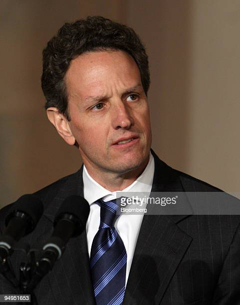 Timothy Geithner US treasury secretary speaks about tax reform during an announcement with President Barack Obama unseen at the White House in...