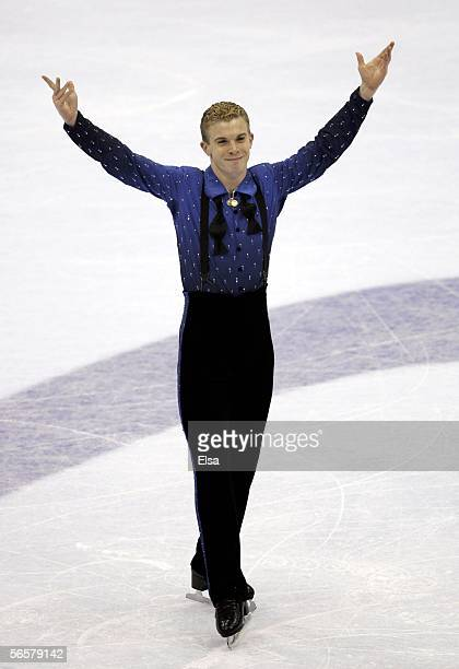Timothy Goebel finishes his Short program during the 2006 State Farm US Figure Championships at the Savvis Center on January 12 2006 in St Louis...