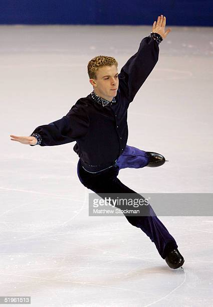Timothy Goebel lands a jump while competing in the men's short program during the State Farm US Figure Skating Championships at the Rose Garden on...