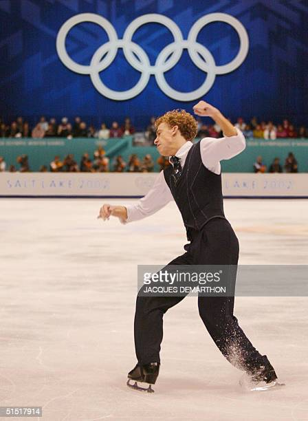 Timothy Goebel of the US performs the men's free program at the Olympic Ice Center 14 February 2002 during the XIXth Winter Olympics in Salt Lake...