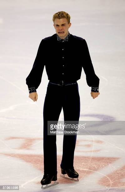 Timothy Goebel reacts after his short program during the State Farm US Figure Skating Championships at the Rose Garden on January 13 2005 in Portland...
