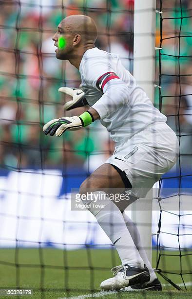 Timothy Howard of the United States jumps for the ball during a FIFA friendly match between Mexico and US at Azteca Stadium on August 15 2012 in...