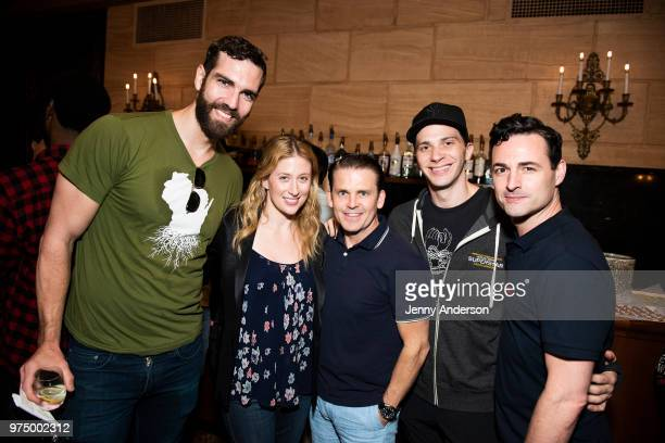 Timothy Hughes Caissie Levy Robert Creighton Joey Taranto and Max Von Essen attend Swing Left meet and greet at St James Theater on June 12 2018 in...
