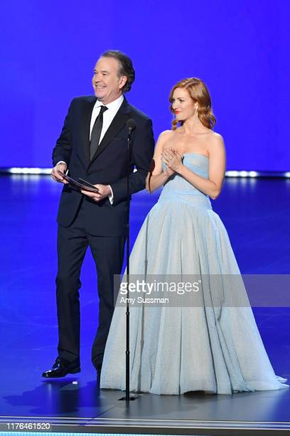 Timothy Hutton and Brittany Snow speak onstage during the 71st Emmy Awards at Microsoft Theater on September 22 2019 in Los Angeles California