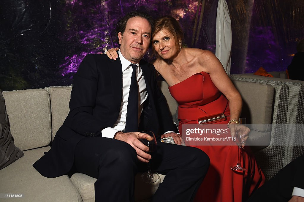 Timothy Hutton (L) and Connie Britton attend the Bloomberg & Vanity Fair cocktail reception following the 2015 WHCA Dinner at the residence of the French Ambassador on April 25, 2015 in Washington, DC.