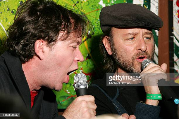 Timothy Hutton and Fisher Stevens during 2007 Park City Karaoke at the Heineken Green Room at Heiniken Green Room in Park City Utah United States