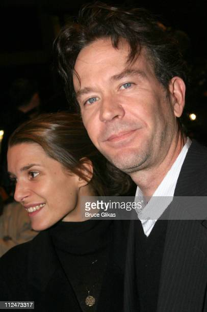 """Timothy Hutton and wife Aurore Giscard d'Estaing during Opening Night of """"Night, Mother"""" on Broadway at The Royale Theater then Tavern on The Green..."""